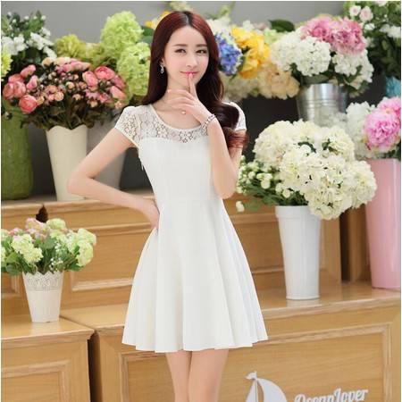 2016年夏季圆领短袖纯色蕾丝拼接中款纯色连衣裙
