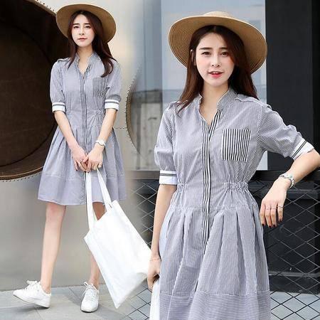 2016年夏季圆领短袖中长款修身条纹收腰连衣裙