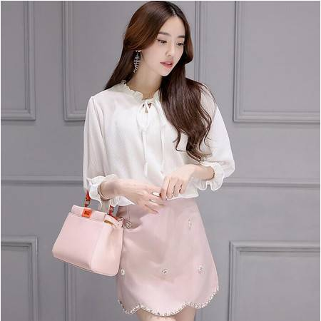 2016新款春装韩版长袖雪纺衫搭配短裙宽松休闲时尚套装