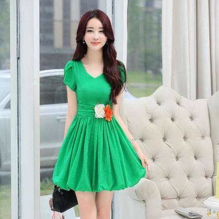 2016年夏季新款潮流韩版圆领短袖纯色高腰褶皱中长款连衣裙