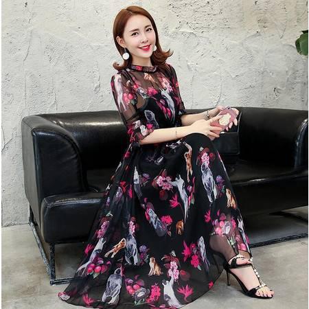 2016年春季韩版时尚显瘦印花仿真丝翻领中袖大摆型连衣裙