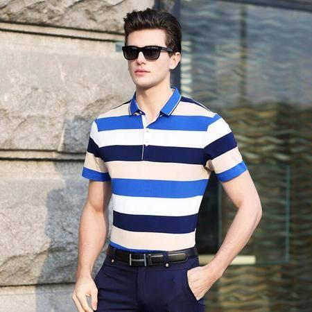 2016夏季新款男士短袖t恤衫 商务翻领男式T恤衫 条纹男士t恤衫