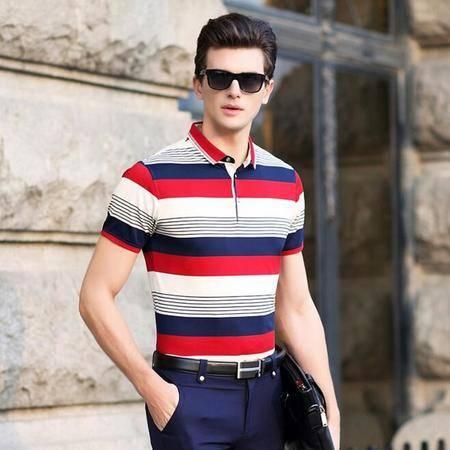 2016夏季新款男士短袖t恤 商务男式翻领T恤衫 条纹男士t恤品牌
