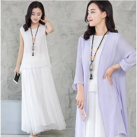 2016年夏季圆领无袖T恤宽松百褶半身裙纯色时尚开衫简约三件套
