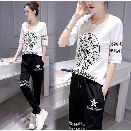 2016年夏季新款潮流韩版修身显瘦短袖T恤长裤时尚百搭两件套