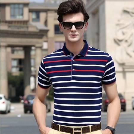 时尚男装 2016夏季新款男式t恤 修身条纹男士T恤纯棉品牌