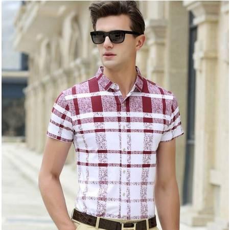 2016夏季新款男式衬衫 男士短袖衬衫 中青年男装衬衣
