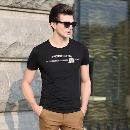 2016夏季新款男士圆领t恤衫 简单男式套头T恤 休闲款男士t恤品牌