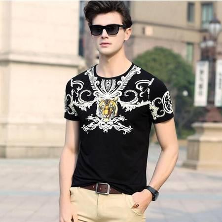 时尚新品2016夏季男式t恤 圆领纯棉免烫短袖男士T恤品牌男装套头