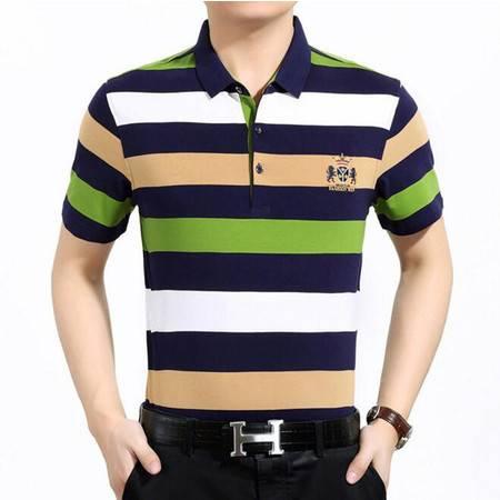 潮流新款 2016夏季新款男式t恤 纯棉短袖条纹男士T恤