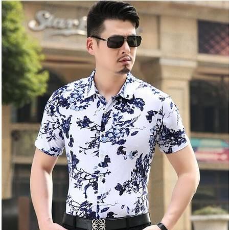 品牌男装2016夏季新款男式短袖衬衫 男士印花衬衣 时尚韩版