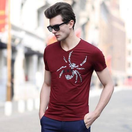 2016夏季新款男士v领T恤 纯棉质男式新品短袖t恤衫 休闲款品牌