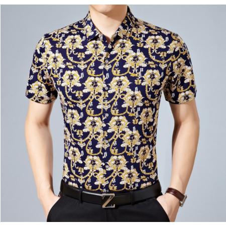 2016夏季新款男式衬衫 男士短袖衬衫男装翻领印花衬衣