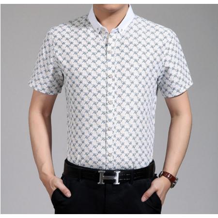 2016夏季新款男式衬衫 休闲男士翻领修身衬衫 碎花衬衫短袖男装