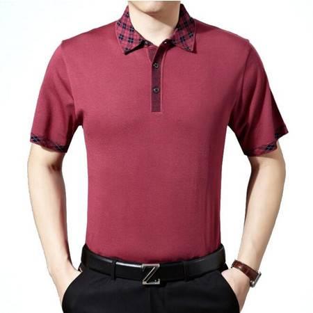 2016夏季新款男式t恤 翻领纯色时尚短袖男士T恤 品牌男装