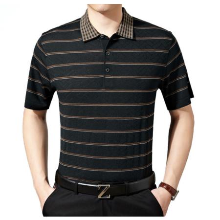 2016夏季新款男式t恤 商务翻领条纹短袖男士T恤 品牌男装