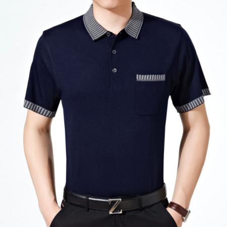 016夏季新款男式t恤 商务针织男士T恤 翻领短袖潮版男装