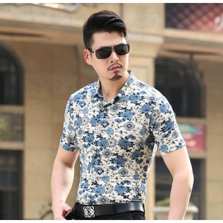时尚百搭2016夏季新款男式短袖衬衫 男士印花衬衣 时尚韩版衬衫