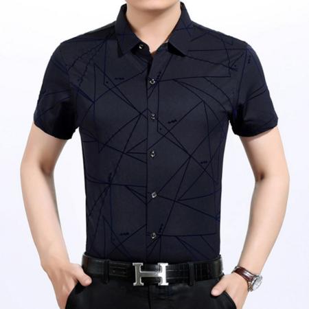 2016夏季新款男式衬衫 翻领短袖男士衬衫 印花品牌男装