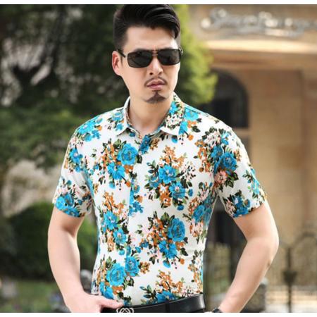 2016夏季新款男式短袖衬衫 男士印花棉衬衫 品牌男装男衬衣 衬衫