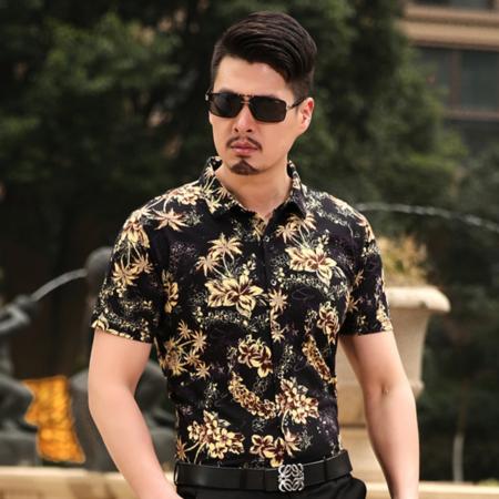 2016夏季新款男式衬衫 时尚印花男士衬衫 翻领短袖潮版衬衫