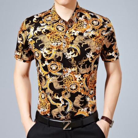 2016夏季新款男式衬衫 时尚男士衬衫 翻领短袖男装衬衣