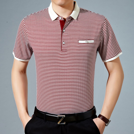2016夏季新款男式t恤 商务条纹男士T恤 翻领短袖男装