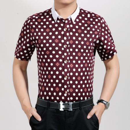 2016夏季新款男式衬衫 商务男士翻领衬衫 短袖碎花纯棉男装衬衫