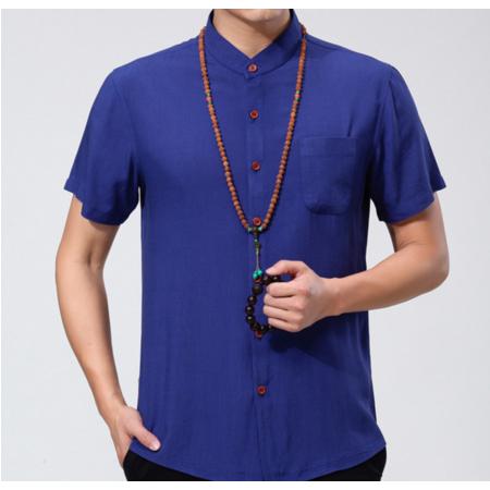 品牌男式短袖衬衫 夏季新款男士衬衫 棉麻立领男装中老年衬衣