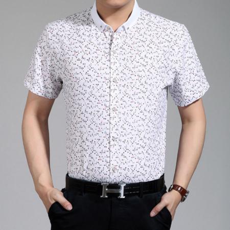 2016夏季新款男式衬衫 男士翻领修身衬衫 休闲时尚印花短袖衬衫