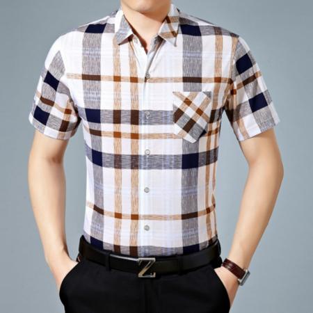 2016夏季新款男式衬衫 翻领短袖男士衬衫 时尚品牌男装