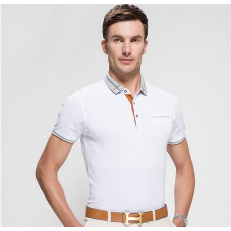 时尚新品 2016夏季新款男式t恤 翻领纯色免烫T恤男装