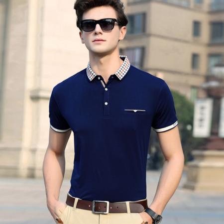 2016夏季新款男式t恤 商务翻领纯色男士T恤 棉质免烫男装品牌
