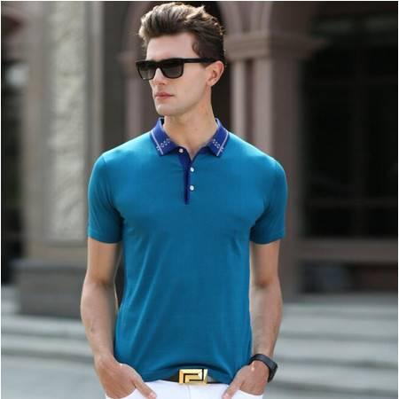 2016夏季新款男式t恤 男士短袖t恤 翻领纯色针织男装T恤