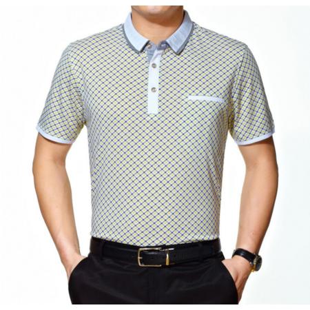 2016夏季新款男式t恤 商务翻领条纹男士T恤 品牌男装