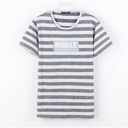 韩版男装2016新款男式短袖t恤男士潮流条纹男装t恤 男