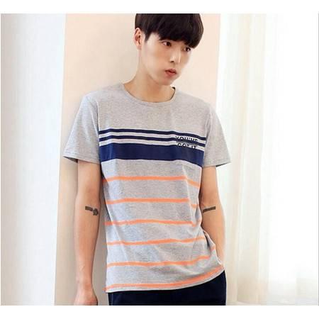 2016夏季新款韩版男士圆领T恤纯棉短袖海魂风条纹男式T恤