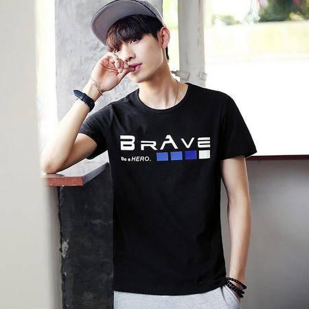 2016韩版男装男式短袖T恤圆领时尚印花夏季新款男士短袖T恤