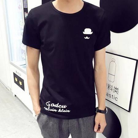2016新款夏季男士短袖T恤圆领印花纯棉体恤打底衫韩版半袖