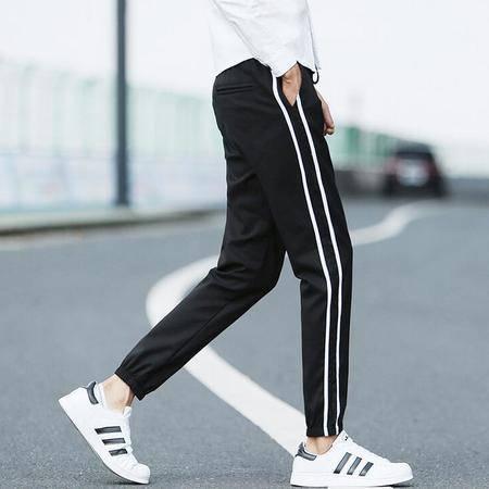 2016春季新款锦纶男士束脚卫裤男士条纹无弹休闲裤