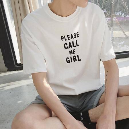 2016年夏季新款男式植绒字母中袖t恤纯棉圆领体恤潮tee