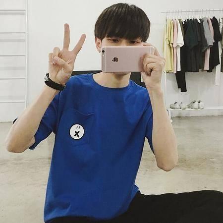 2016年夏装新款男士短袖T恤韩版宽松纯棉体恤口袋潮tee