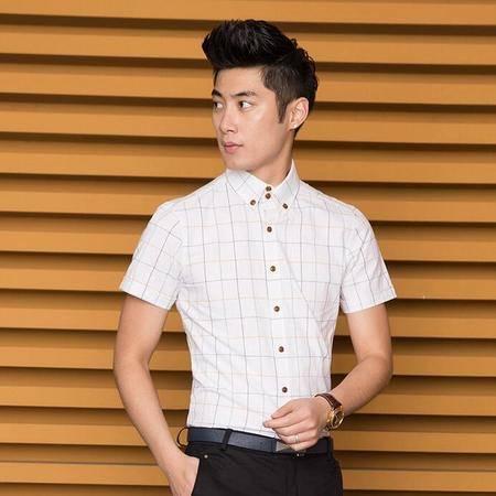 2016夏季新款韩版夏装男士短袖衬衫修身青春多色格子衬