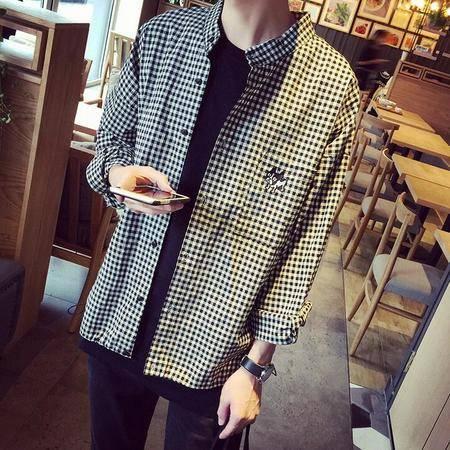 2016男士纯棉长袖衬衫韩版条纹宽松衬衣免烫潮男上衣