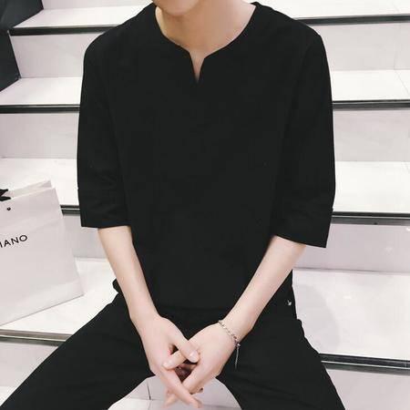 2016原创男士5分袖T恤男休闲麻棉立领宽松半袖衫男潮