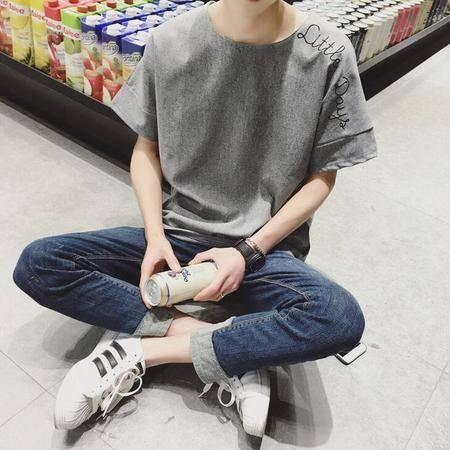 2016夏季新款男士韩版宽松短袖 个性字母刺绣T恤男潮