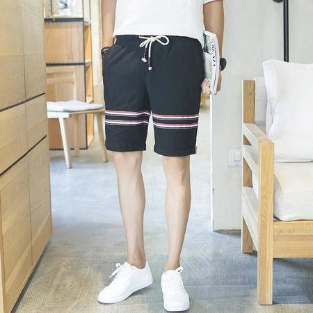 2016夏季潮男短裤日系男士棉麻五分亚麻织带休闲裤收腰短裤