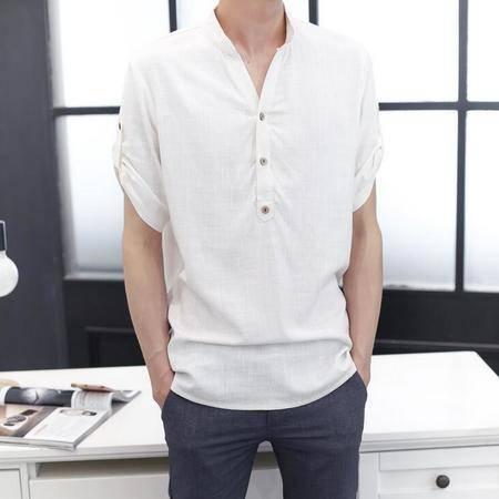2016男衬衫纯色夏季新款亚麻纯色5分袖纽扣V领棉麻T恤