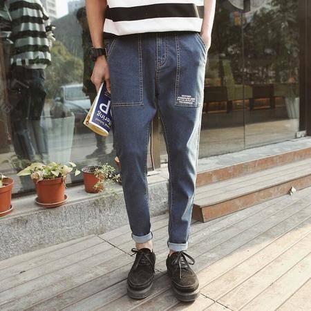 2016秋季新款男装印花港风小脚品质牛仔裤男 大口袋长裤