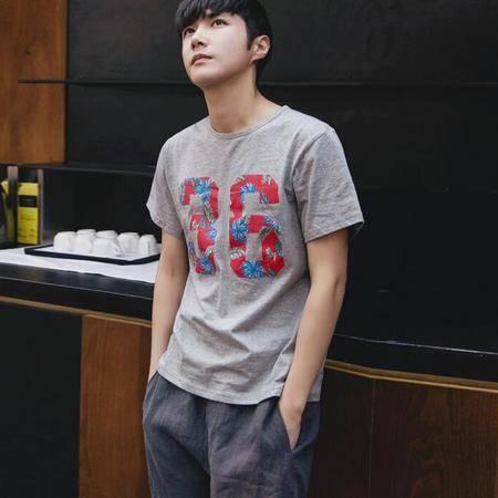 2016夏季新款韩版男士半袖T恤衫数字印花圆领短袖T恤男